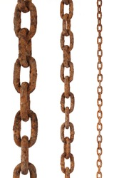 tree rusty chains, over a white background