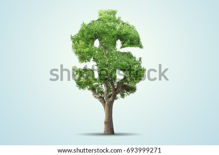 Tree shaped in dollar sign over blue background