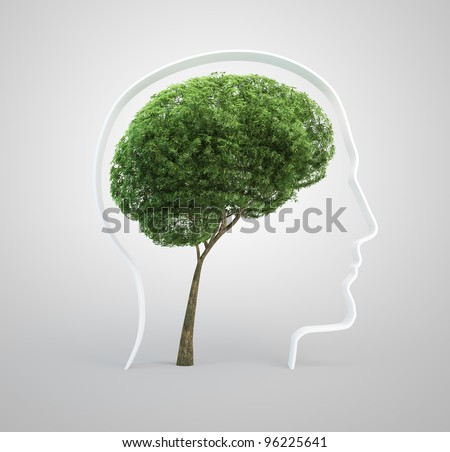 Tree shaped like a human brain inside a head silhouette.