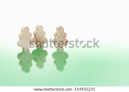 tree shaped wooden blocks environmental concept