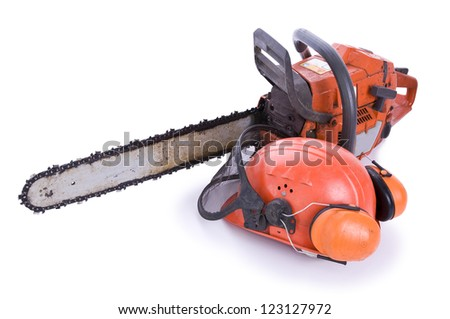tree surgeon tools on white, chainsaw, helmet with shield and ear defenders