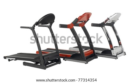 Tree treadmill exercise tool in the gyms isolated on white