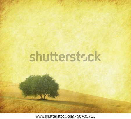 tree with old grunge antique paper texture