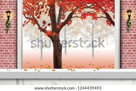 Tree with red flowers on branches on decorative red bricks wall bakcground 3D wallpaper