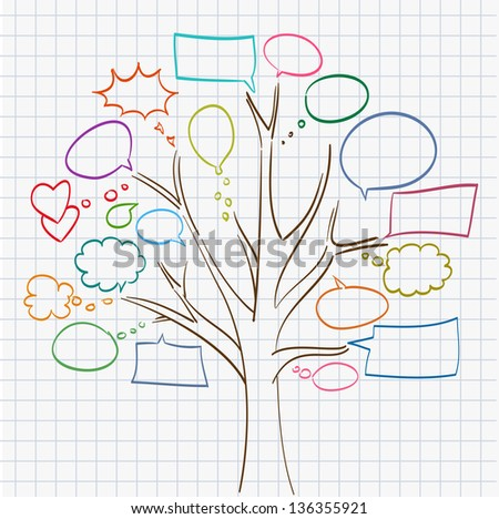 tree with speech bubbles on notepad sheet. raster version