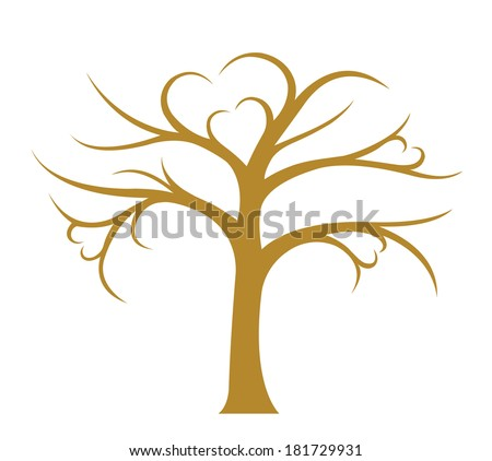 Tree without leaves on white background, image