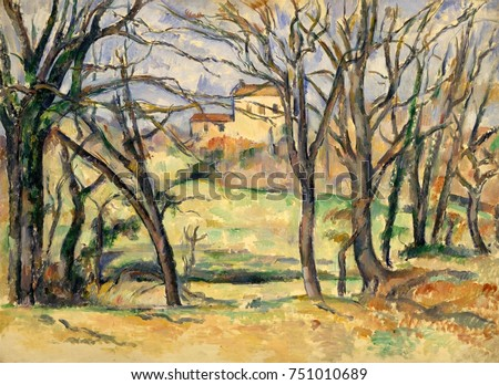 Trees and Houses Near the Jas de Bouffan, by Paul Cezanne, 1885-86, French Post-Impressionism. This was painted from nature, south of the Jas de Bouffan, the Cezanne family residence near Aix-en-Prove