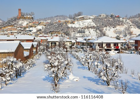 Trees and houses on the hill at small town of Corneliano D'Alba at winter in Piedmont, Northern Italy.
