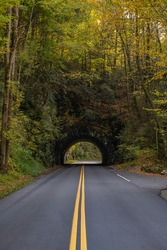 Trees Begin To Change Color Over Tunnel along the Blue Ridge Parkway