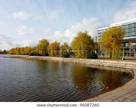 Trees in autumn colors along the quay of a pool in the city