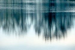 trees reflecting in the water, symbol of nature and meditation, and awareness and stillness
