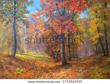 trees with bright colorful leaves deep in the autumn forest,oil painting, fine art, fallen leaves, trees, park, autumn, landscape, nature