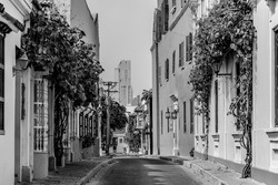 treet in the San Diego neighborhood, have a vintage colonial architecture of antique houses who are hotels and restaurant in the present, this loneliness is for quarantine covid-19