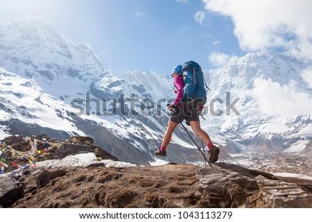 Trekker on the way to Annapurna base camp, Nepal #1043113279
