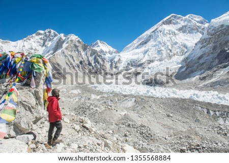 Trekker standing at Everest Base Camp (5,380 m) the place are used by mountain climbers during their ascent and descent to Mt.Everest, Nepal. #1355568884