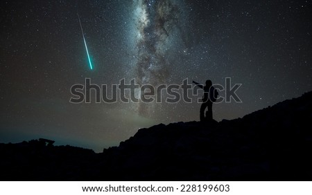 Trekker with milky way and shooting star in background, Annapurna region, Nepal