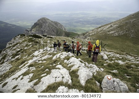 Trekkers at mountain in west Bosnia and Herzegovina near border with Croatia