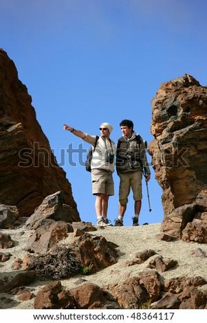 Trekkers in desertic area