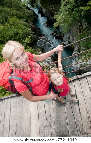 Trekkers - little girl with mother on mountain trek