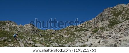 Trekkers on final ascent effort to Port de Caldes de Colomers mountain pass at 2,572 m ASL on trail GR11.18, Aiguestortes & Estany de Sant Maurici National Park, Pyrenees, Spain #1195215763
