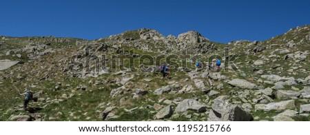 Trekkers on final ascent effort to Port de Caldes de Colomers mountain pass at 2,572 m ASL on trail GR11.18, Aiguestortes & Estany de Sant Maurici National Park, Pyrenees, Spain #1195215766