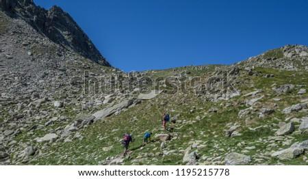 Trekkers on final ascent effort to Port de Caldes de Colomers mountain pass at 2,572 m ASL on trail GR11.18, Aiguestortes & Estany de Sant Maurici National Park, Pyrenees, Spain #1195215778
