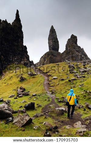 Trekking at Old Man of Storr, Isle of Skye ,Scotland