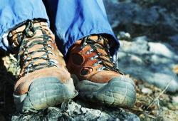 trekking boots close up