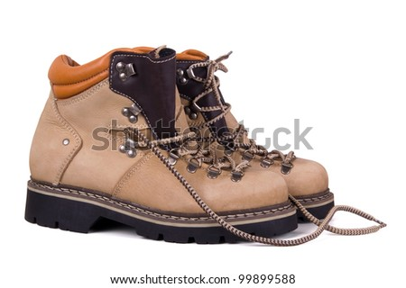 Trekking boots isolated on white background