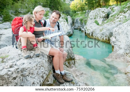 Trekking - family on mountain trek