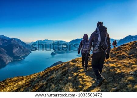 Trekking on Lake Como Stock fotó ©