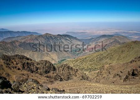 Trekking route to Toubkal, Atlas mountains in Morocco
