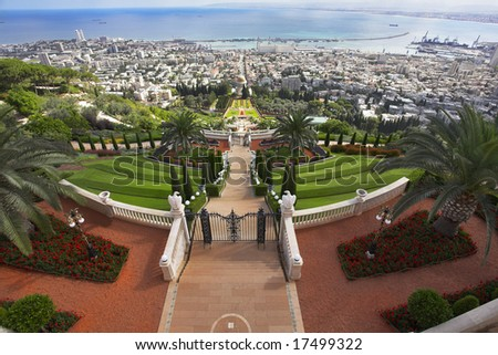 Tremendous solemn landscape - Bahai sacred places, Haifa and Mediterranean sea