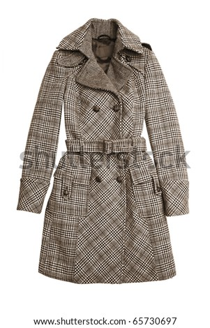 Trench coat isolated on white - stock photo