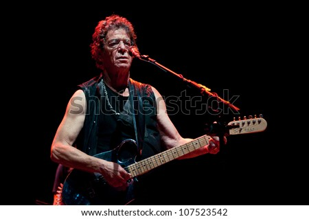 TRENCIN,SLOVAKIA - JULY 5:Lou Reed performs at the Pohoda Music Festival at the Trencin Airport in Trencin, Slovakia on July 5, 2012.