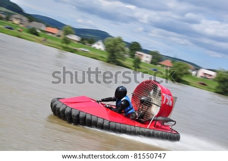 TRENCIN, SLOVAKIA - JULY 23:  Pawel Zilinski from Poland participate in the European championship hovercraft Laugaritio July 23, 2011 in Trencin, Slovakia.