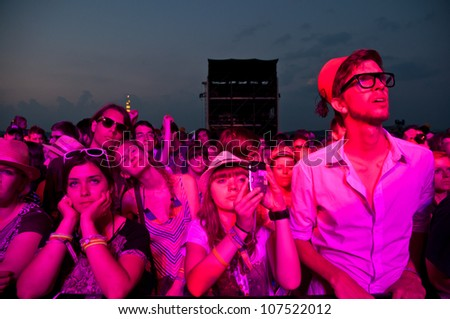 TRENCIN,SLOVAKIA - JULY 7:Visitors of Bazant Pohoda Music Festival at the Trencin Airport in Trencin, Slovakia on July 7, 2012.