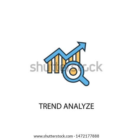 trend analyze concept 2 colored line icon. Simple yellow and blue element illustration. trend analyze concept outline symbol design