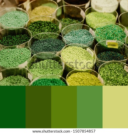 Trend 2020 Color palette with colorful beads. Collage with natural green colors swatch
