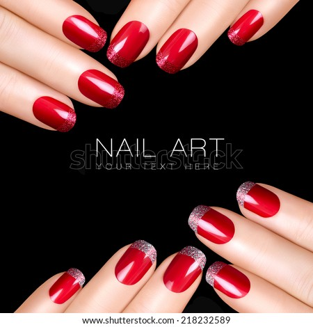 trend nail art luxury nail polish with glitter french manicure