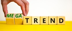 Trend or megatrend symbol. Businessman turns wooden cubes and changes words trend to megatrend. Beautiful yellow table, white background, copy space. Business, trend or megatrend concept.