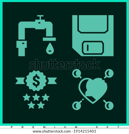 Trending premium modern set of 4 favor filled icons such as save, kindness, save water Сток-фото ©