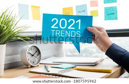 Trends of 2021 concepts with text and business person.creativity to success Foto d'archivio ©