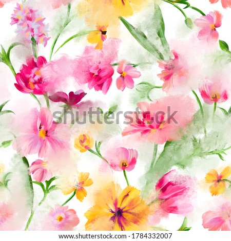 Trendy abstract floral seamless pattern. Defocused bright garden blossom flowers with large buds. Blurred summer botanical ornament for fashion design, textile and fabric.