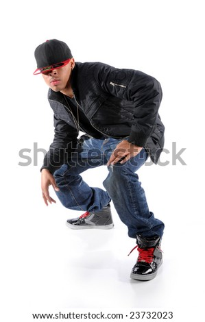 Trendy African American man performing hip hop style dancing