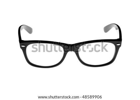 trendy black rimmed retro glasses isolated on white