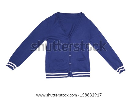 Trendy blue cardigan. Isolated on a white background