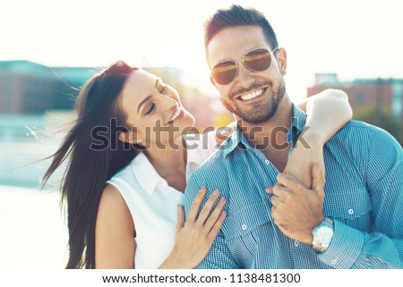 Trendy caucasian young couple have fun outdoors, dating #1138481300