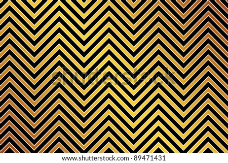 Trendy chevron patterned background, golden, black and white
