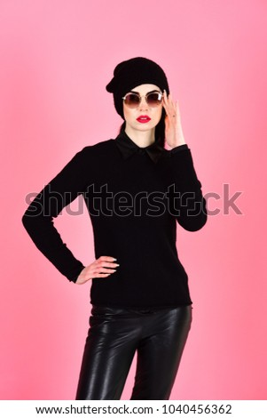 Trendy clothes concept. Student wearing sunglasses and trendy clothes. #1040456362